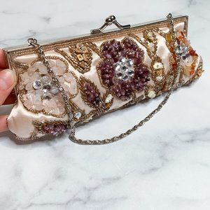 Vintage Beaded Embellished Kiss Lock Mini Bag